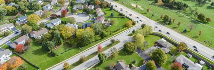Birds eye view of a neighborhood in Oswego